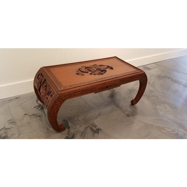 Carved Chinese Coffee Table For Sale - Image 4 of 10