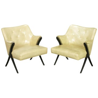 Pair of 1940s Modernist Club Chairs in Original Bone Glazed Leather For Sale