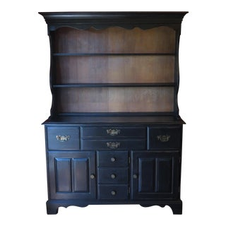 Rustic Shabby Chic Black Oak China Cabinet