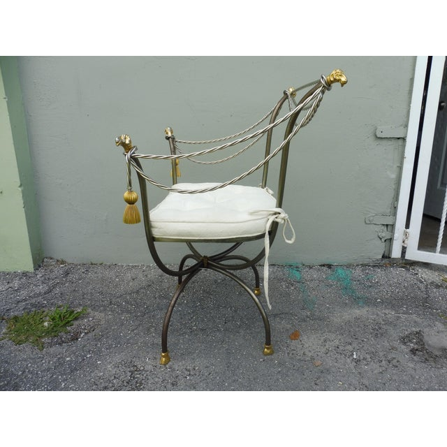 Neoclassical 1970s Neoclassical Brass and Steel Savonarola Chair For Sale - Image 3 of 4