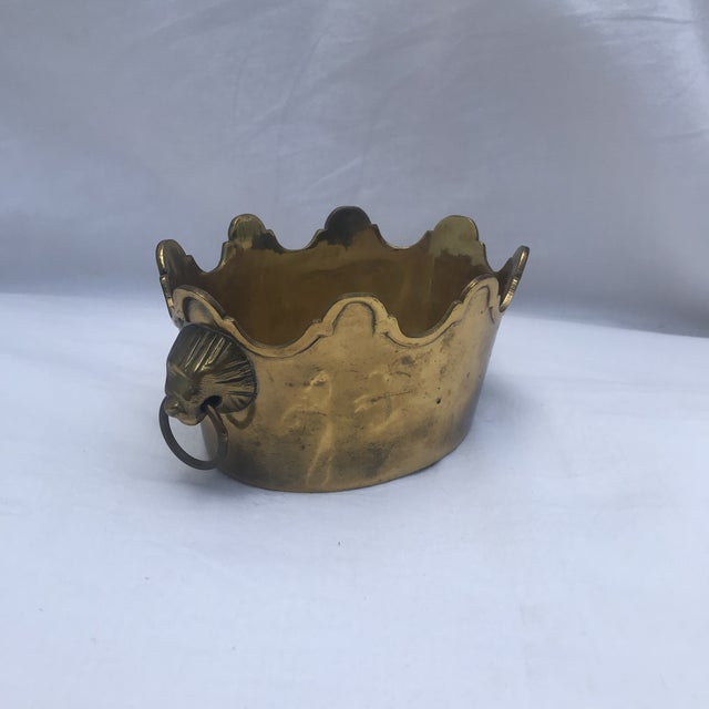Hollywood Regency Brass Scalloped Rim Planter With Lion's Head Handles For Sale - Image 3 of 7