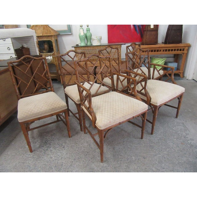 1970s Faux Bamboo Chippendale Century Chairs- Set of 6 For Sale - Image 5 of 8