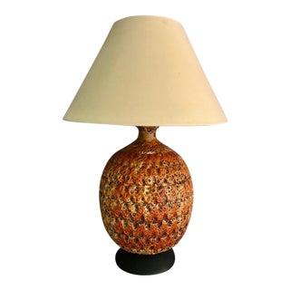 Oversized Burnt Orange Fat Lava Glazed Ceramic Table Lamp For Sale