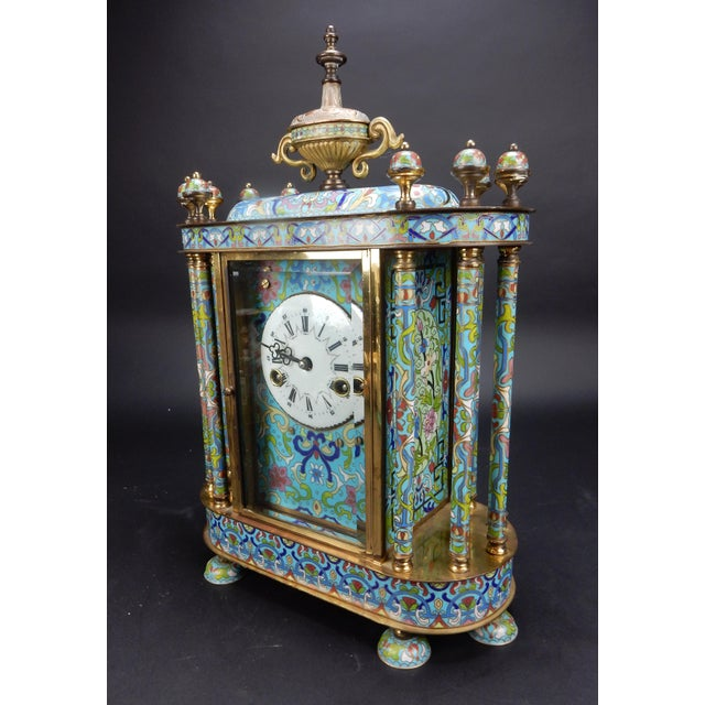 "Chinese Export Bronze and Cloisonné Mantle Clock Excellent Working Condition 19"" For Sale - Image 4 of 13"
