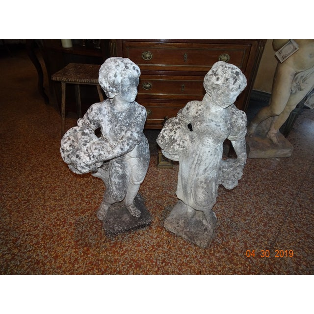 Pair of Vintage French Stone Statues For Sale - Image 12 of 13