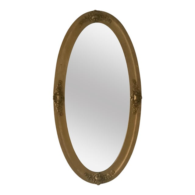 Vintage Beveled Oval Gilt Mirror For Sale