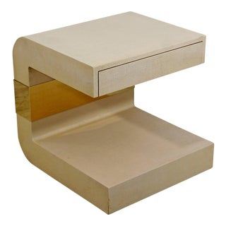Mid-Century Modern Lacquer Grasscloth Brass Sculptural Side Table Springer Era For Sale