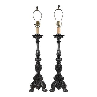 Pair of Antique Black Painted Metal Altar Candlesticks -Now Lamps For Sale