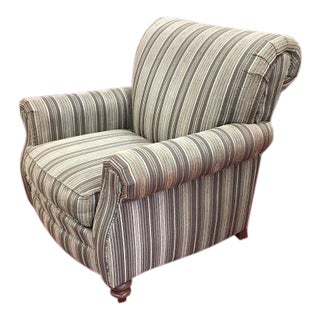 Smith Brothers Striped Arm Chair For Sale