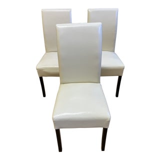 Cort Ivory Leather High Back Chairs - Set of Three For Sale
