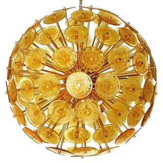 Italian Amber Murano Glass Disco Sputnik by Fabio Ltd For Sale