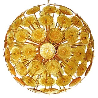 Italian Amber Murano Glass Disco Sputniks For Sale