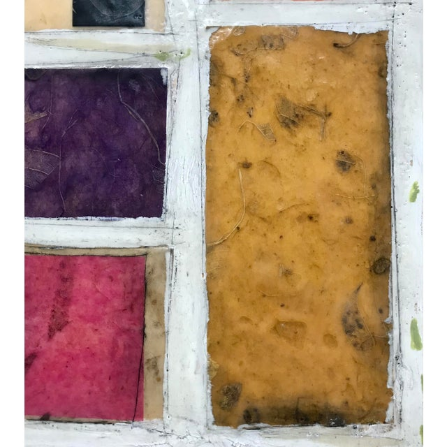 """Wood Gina Cochran """"Necessity of Play No. 8"""" Encaustic Collage Painting For Sale - Image 7 of 9"""