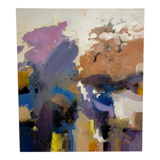 1970's Large-Scale Signed Abstract Painting For Sale