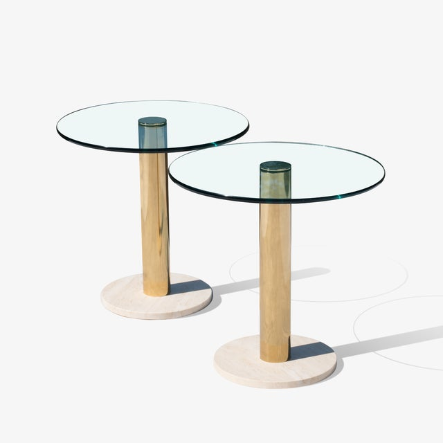 1970s Accent Tables in Travertine & Brass by Pace Collection, Pair For Sale - Image 5 of 5