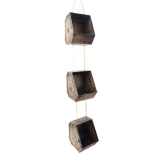 Vintage Industrial Metal Hanging Parts Cubby Planters | 3-Tier Steel & Brass Containers/ Holders | Hanging Industrial Organizer For Sale