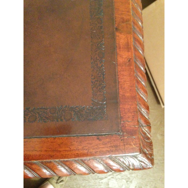 Animal Skin 1900s Georgian Style Mahogany Partners Desk With Leather Top For Sale - Image 7 of 8