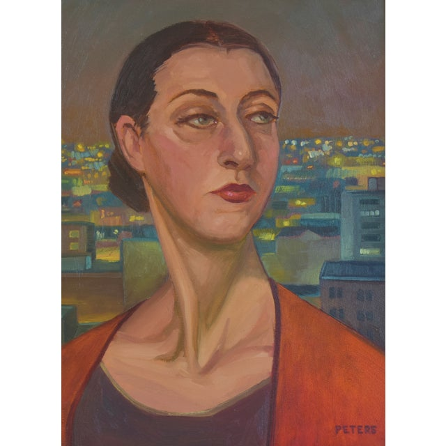 """Early 21st Century Artist Tony Peters Female Portrait """"Off Broadway"""" Framed Oil Painting For Sale - Image 5 of 9"""