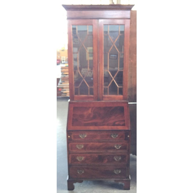 Flame Mahogany Secretary Bookcase For Sale - Image 9 of 10