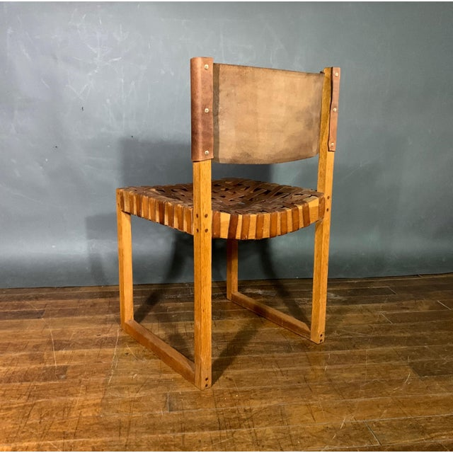 Set of Six Danish 1970 Woven Leather & Oak Dining Chairs For Sale - Image 9 of 11