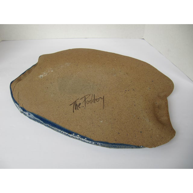Cobalt Blue Hand-Made Pottery Serving Platter-Blue With Leave Details For Sale - Image 4 of 5