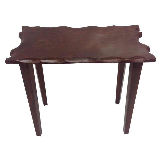 Mid Century Craftsman Style Dark Wood Side Table For Sale