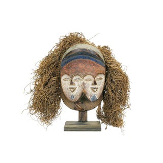 Vuvi Twin African Face Mask With Raffia For Sale