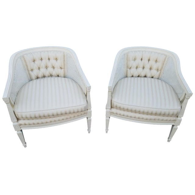 Off-White Cane Back Barrel Chairs - A Pair - Image 1 of 7