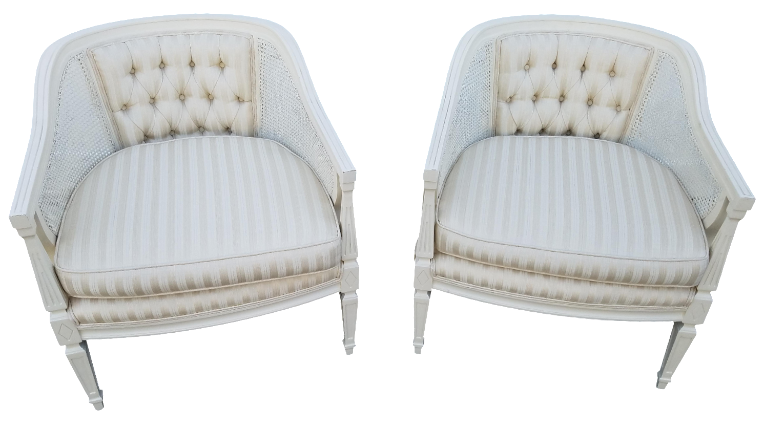 Bon Off White Cane Back Barrel Chairs   A Pair