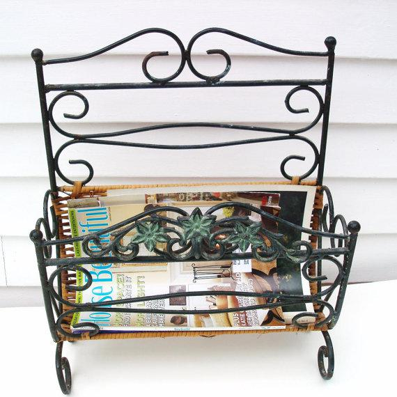 Wrought Iron & Rattan Magazine Basket For Sale - Image 5 of 6