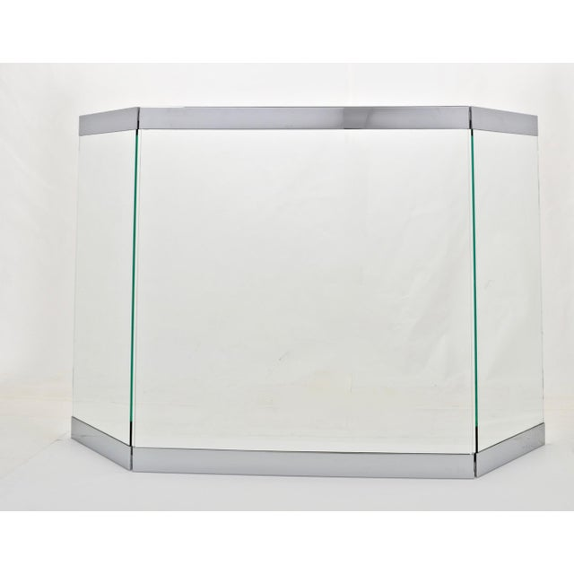 Chrome Chrome and Glass Three-Panel Fire Screen 1970s For Sale - Image 7 of 7