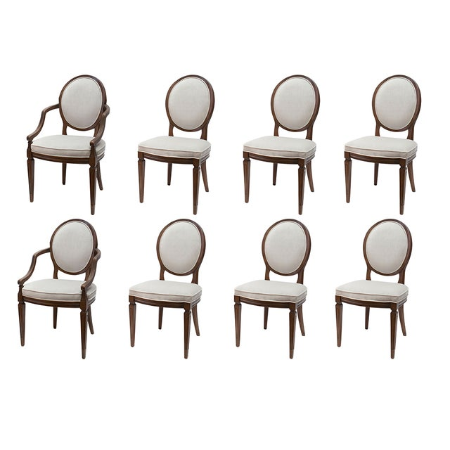 Louis XVI Gray Velvet Dining Chairs - Set of 8 - Image 1 of 9