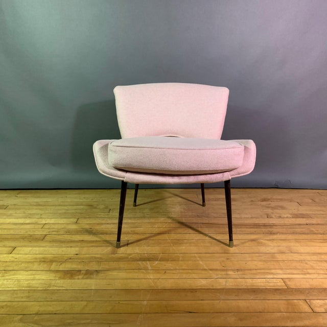 This perfectly proportioned Boudoir chair was made in Italy in the 1950s with an unusual all-metal frame including black...
