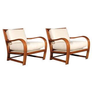 Restored Pair of Vintage Ficks Reed Club Chairs For Sale