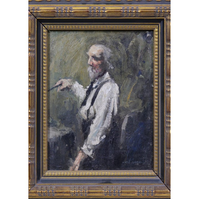 Portraiture Late 20th Century Vintage Elderly Man Portrait Painting For Sale - Image 3 of 4