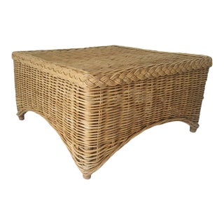 1970s Tribal Wicker Coffee Table For Sale