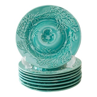 French Celadon Majolica Gien Oyster Plates, 8 Available