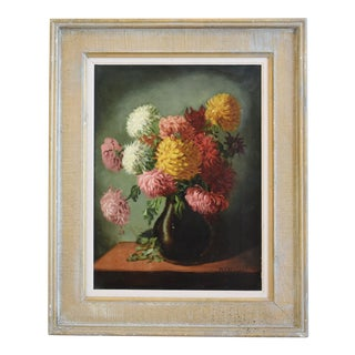 M E Wright Chrysanthemum in Vase Framed Floral Oil Painting For Sale
