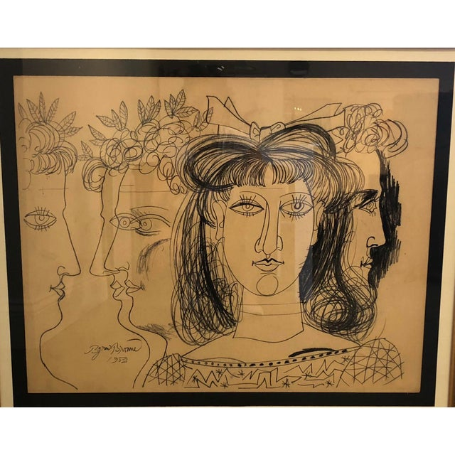 Original signed and dated artwork by prolific mid/century New York artist Byron Browne. Executed in conte crayon on paper...