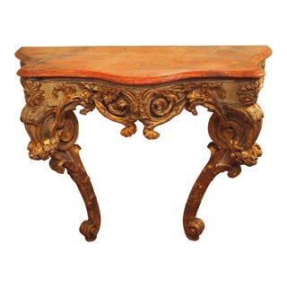 Muscular Faux Marble Rococo Console For Sale