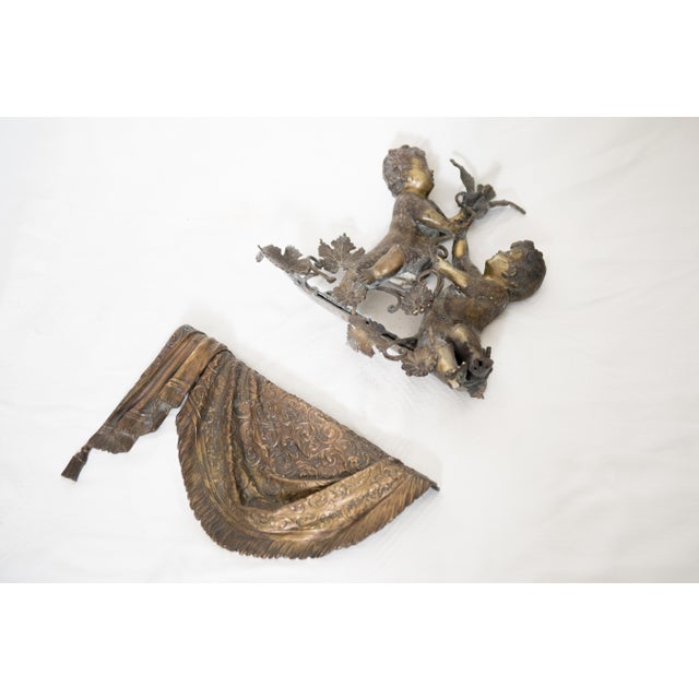 Brass & Spelter Putti/Cherubs with Bird Ledge Mount For Sale - Image 4 of 8