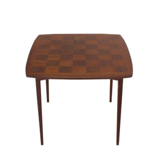 Danish Mid-Century Modern Parquetry Top Game Table For Sale