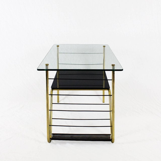 Mid-Century Modern 1960s Coffee Table by Pierre Guariche, Brass, Bronze, Opaline, Glass - France For Sale - Image 3 of 9