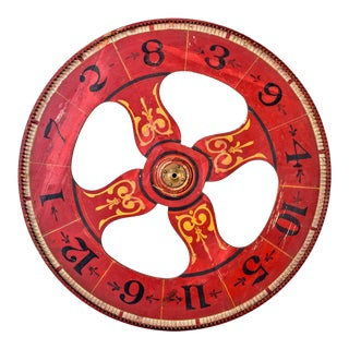 Large Antique Double Sided Folk Art Carnival Game Wheel For Sale