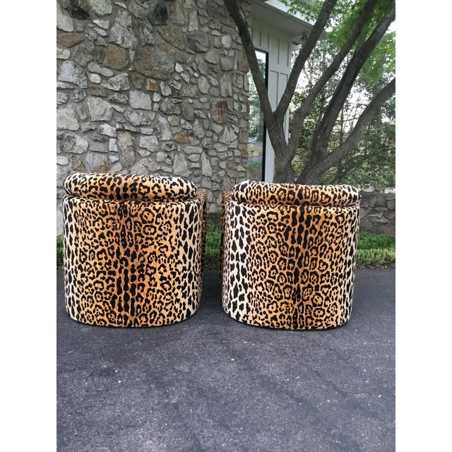 Drexel 1960s Drexel Parsons Chairs in Cheetah Velvet - a Pair For Sale - Image 4 of 6