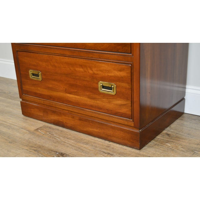 Ethan Allen Campaign Style Pair Solid Cherry 3 Drawer Chests Nightstands For Sale - Image 12 of 13