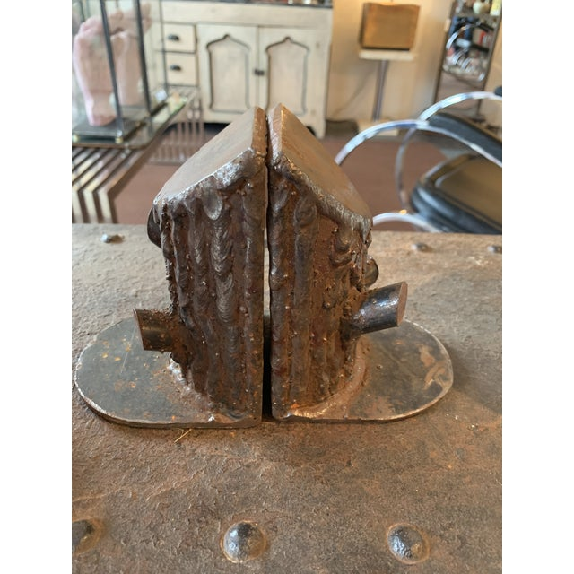 Metal Vintage Mid Century Cast Iron Log Bookends- A Pair For Sale - Image 7 of 7