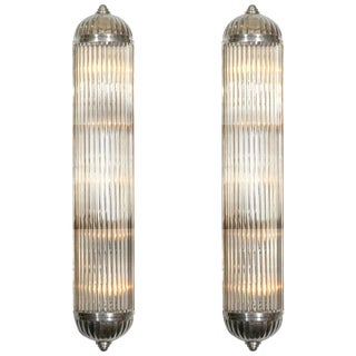 French Modernist Long Tubular Sconces by Petitot - a Pair For Sale