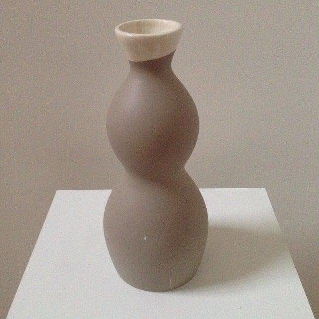 Double Gourd Form Tan Ceramic Vase - Image 3 of 7