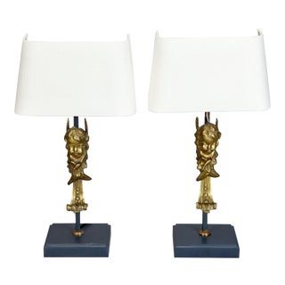 19th Century Italian Bronze Puti Cherub Table Lamps - A Pair